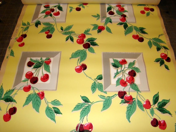 Very Cherry Kitchen 1940 S Vintage Wallpaper Triple Amp By