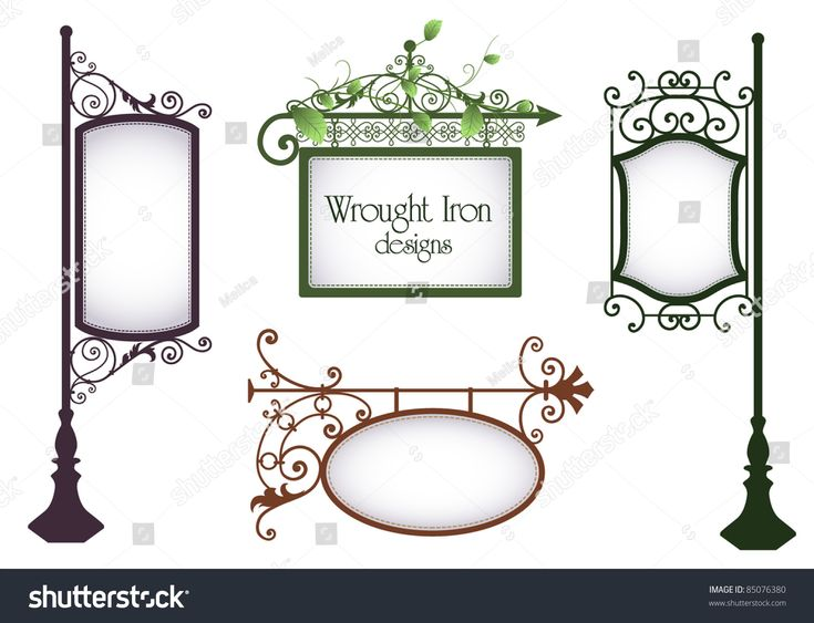 Wrought iron vintage signs set