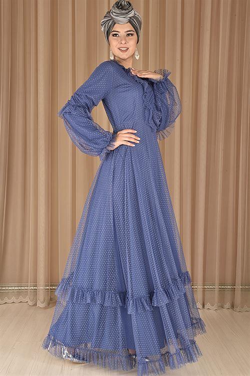 a05df21db8103 Modamerve Tesettür Tüllü Abiye Elbise Modelleri - Moda Tesettür Giyim