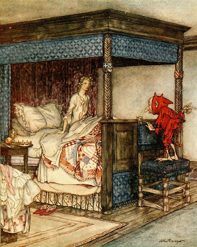 by Arthur Rackham--from Rumpelstiltskin. The best fairy tales contain a glimpse of darkness that Arthur Rackham captures perfectly in his art; beauty and just a hint of danger.