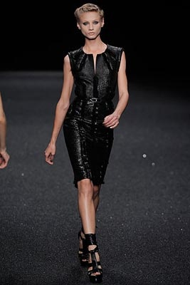 Elie Saab patent leather black mini dress