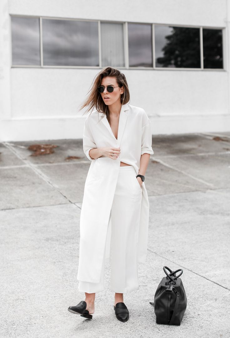 MODERN LEGACY - all white street style duster coat loafer mules Alexander Wang tote