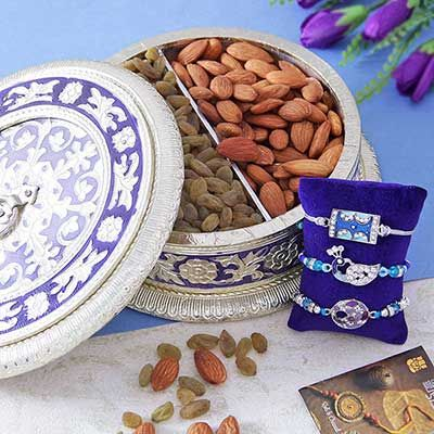 Three Rakhi with Dry Fruit Box with Almonds and Kishmish
