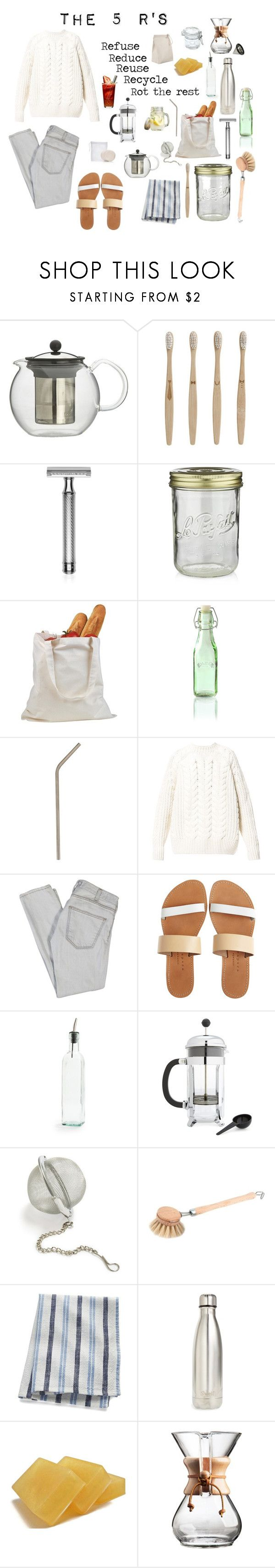 """""""Zero Waste Aesthetic"""" by solarpunkartist on Polyvore featuring Bodum, ferm LIVING, Baxter of California, Crate and Barrel, Kilner, Diesel, Current/Elliott, Isapera, Sur La Table and Redecker"""
