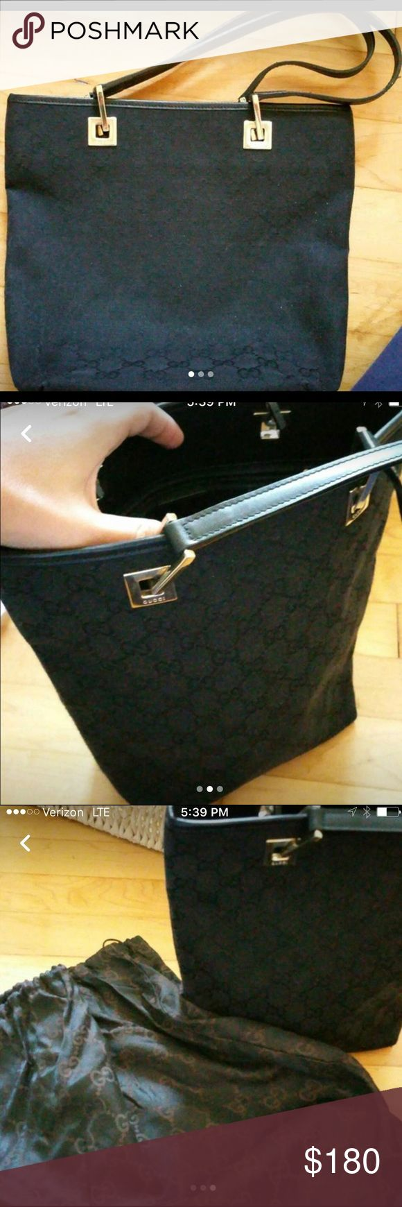 """Authentic black Gucci bucket bag Barely used. Dimensions are 14"""" tall (not including the straps up) sfpf home price does not include shipping Gucci Bags Shoulder Bags"""