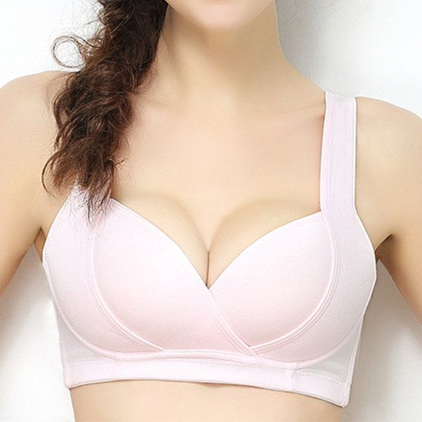 Sexy Low Plunge Cotton Front Open Gather Wireless Nursing Bras