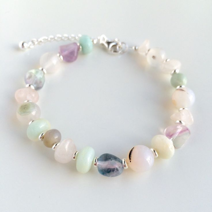 Handmade bracelet with Flourite, Amazonite and Natural Aquatic Agate gemstone beads, details in 925 sterling silver by Penello on Etsy https://www.etsy.com/listing/262766029/handmade-bracelet-with-flourite