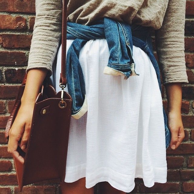 Layers + Texture . Denim, leather, chiffon, linen.
