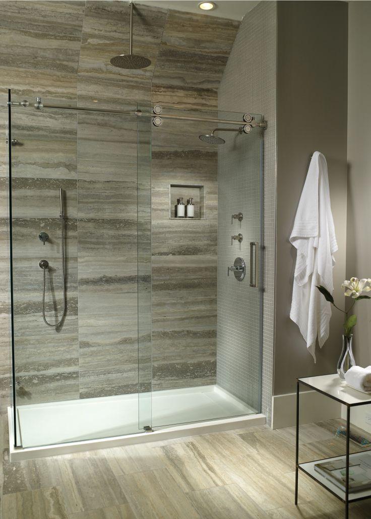 White Oak Bathroom Multi threshold shower base and