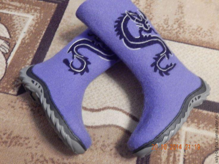 Купить Валенки - фиолетовый, шерсть 100%, обувь ручной работы, валенки для улицы, шерсть 100%