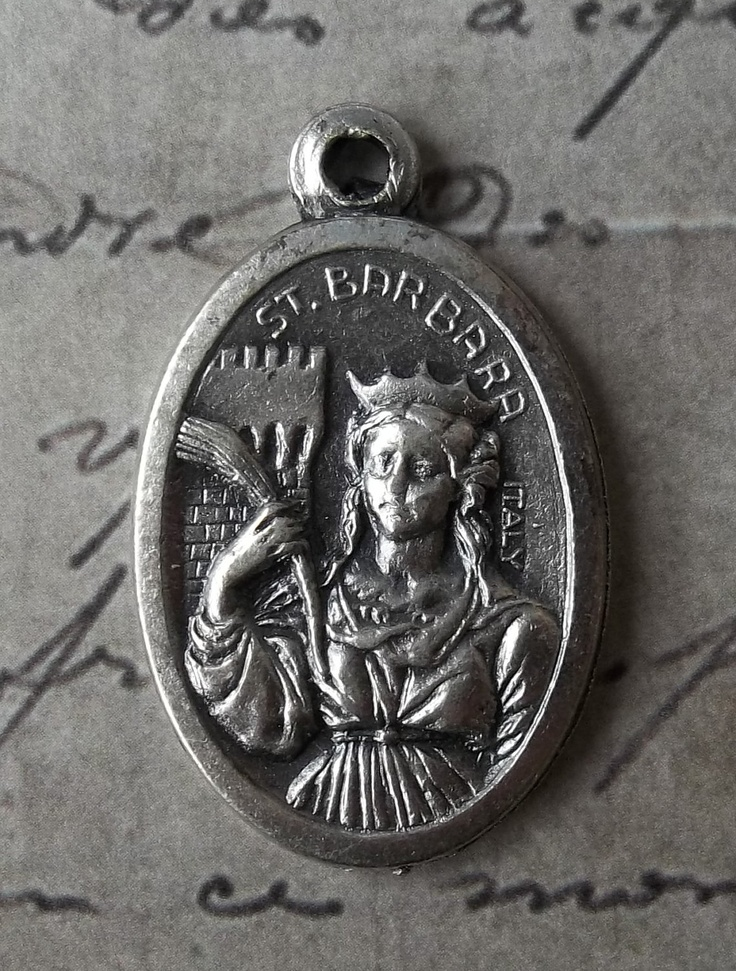 Saint Barbara Patron Saint Of Firefighters & Architects Italian Religious Medal