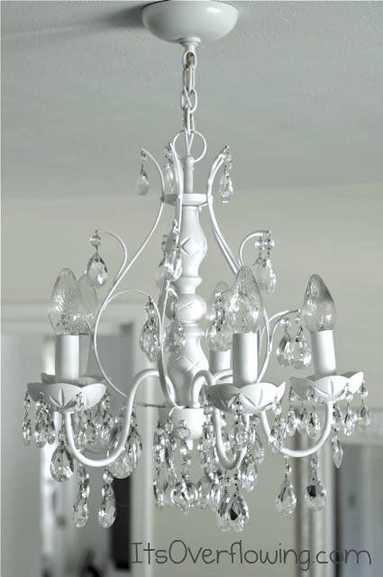 Diy Chic Chandelier Makeover White Paint And Washing Crystals At Http Spray Painted Chandelierbrass