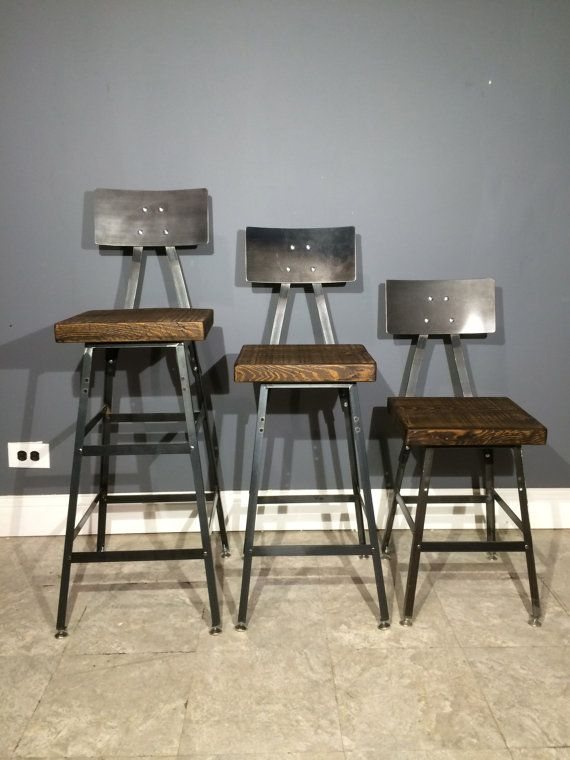 Industrial bar stool made from reclaimed wood bar height for Industrial design bar stools