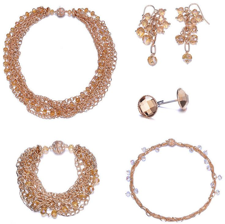 Clarice: 5 Piece Interwoven Gold & Topaz Jewelry Set With Magna Clasp