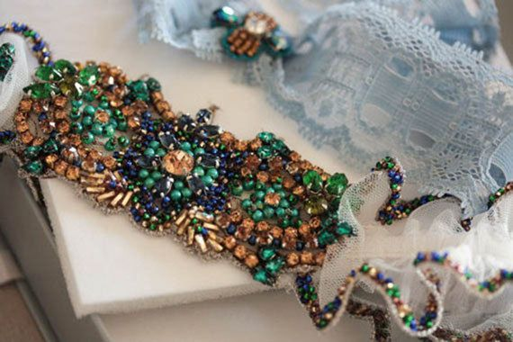 Peacock Wedding Garter Set Made to Order by EnrichbyMillie on Etsy