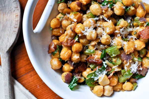 """Toasty Parmesan Chickpea Salad (ha! """"salad"""") - This might get added to tonight's menu. (from How Sweet It is)"""