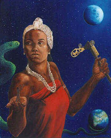 Mawu, African Goddess Of The Moon by Shella Goh| Mawu, African Goddess Of The Moon  And here she is, the muse for my necklace of the same name.   In Dahomey (West African) mythology, Mawu is a creator goddess, associated with the sun and moon.   After creating the earth and all life and everything else on it, Mawu became concerned that it might be too heavy, so she asked the primeval serpent, Aido Hwedo, to curl up beneath the earth and hold it up in the sky.