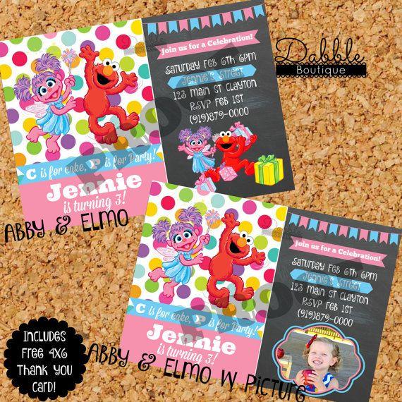 Abby & Elmo Birthday Invitation/ Sesame by TinasDabbleBoutique