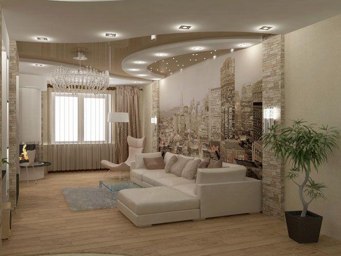 Гостиная с камином на                                       Академика Королева. Дизайн                                       интерьера
