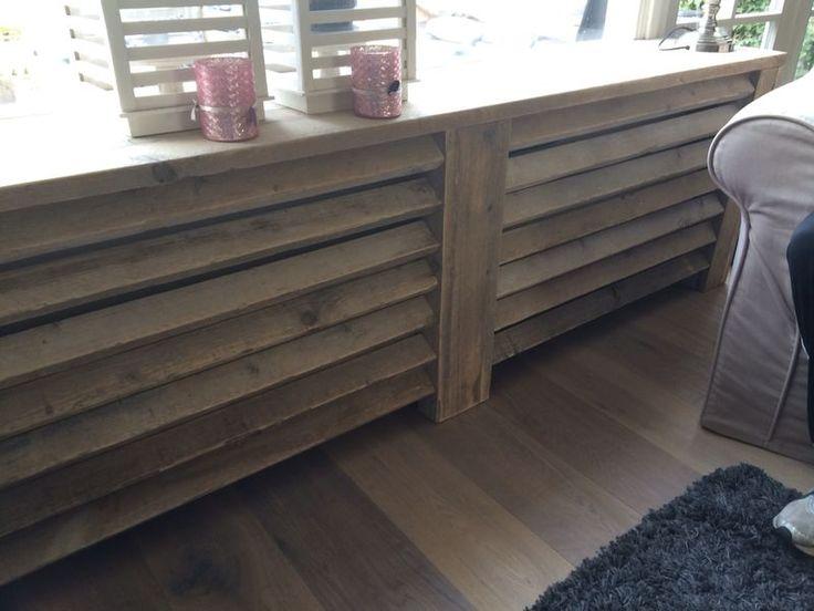 Steigerhouten radiator ombouw/vensterbank. Op maat te bestellen bij GoedGevonden.