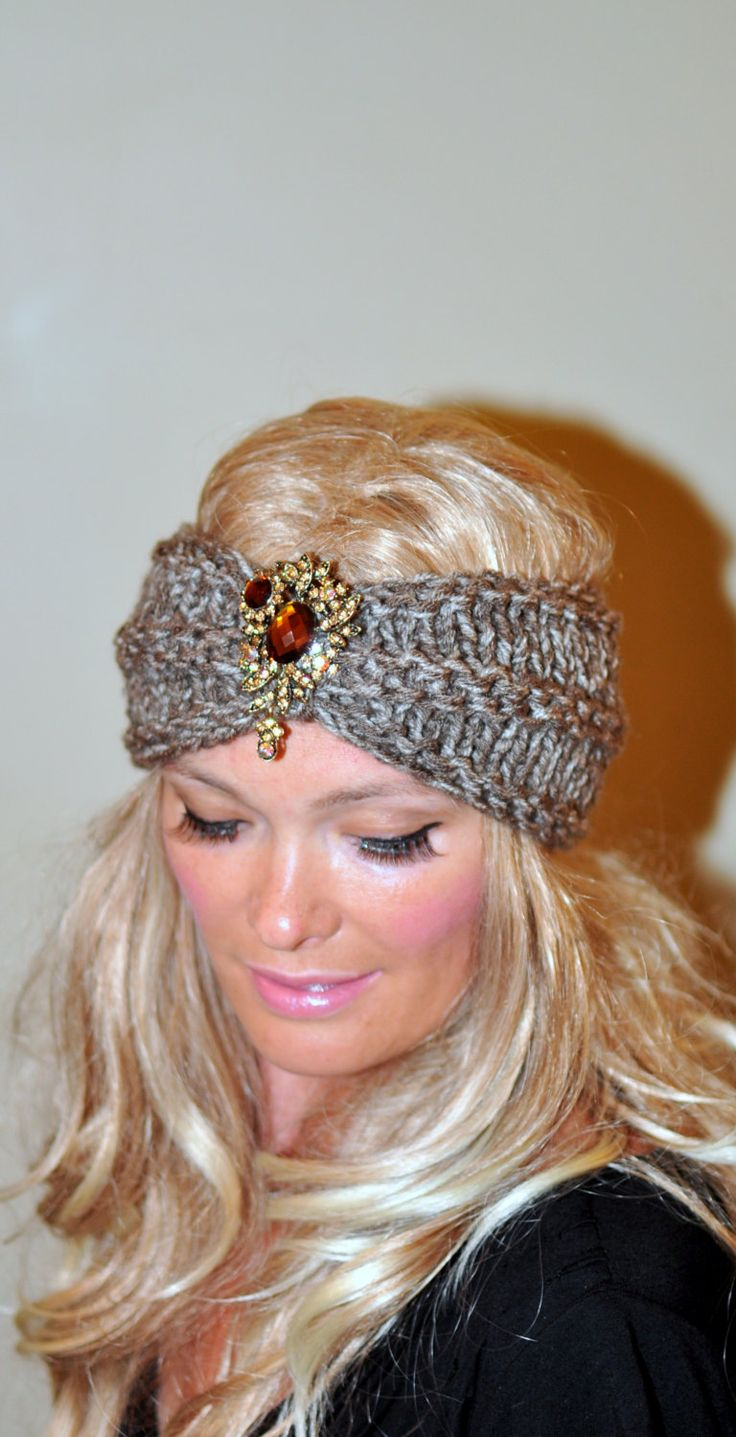 brooch turban earwarmer knit headband crochet ear warmer embellished head wrap birch natural