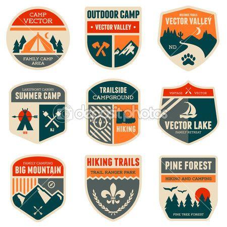 ビンテージの屋外のキャンプのバッジのエンブレム セット — ストックイラストレーション #28304675