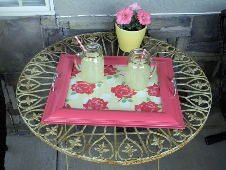 (DIY) Picture frame becomes serving tray.  Coordinate for any theme or occasion.  Great gift!