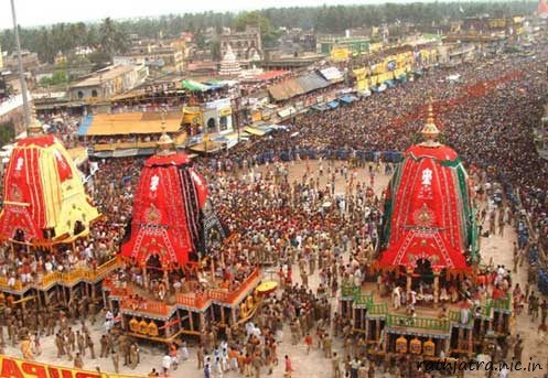 #RathaYatra#, the Festival of Chariots of Lord Jagannatha is celebrated every year at Puri,Orissa on Ashad Shukla Dwitiya, commemorates Lord Jaganath's annual visit to Gundicha mata's temple via Mausi Maa Temple. The presiding deities of the main temple, Sri Mandira, Lord Jagannatha, Lord Balabhadra and Goddess Subhadra, with the celestial wheel Sudarshana are taken to Gundicha temple, some two miles away to the North. The deities return to their abode in Srimandira, after a stay for 7 days.