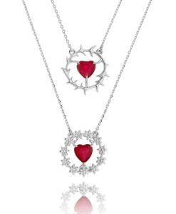 colar escapulário delicado com zirconias rubi em formato de coração semi joias finas