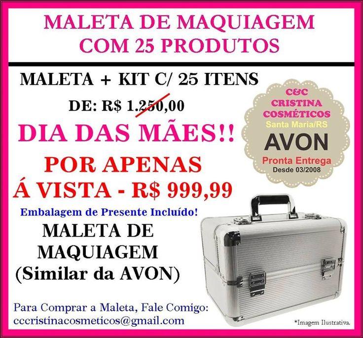 KIT COM 25 PRODUTOS  AVON MAQUIAGEM - (DE: R$ 620,00  | POR APENAS: R$ 410,00) ---  KIT COM 35 PRODUTOS AVON MAQUIAGEM - (DE: R$ 996,50  | POR APENAS: R$ 600,00  !  [ estes valores são referentes somente ao Kit com produtos de Maquiagem AVON, não está incluso a Maleta de maquiagem nos kits, venda da maleta é separada].