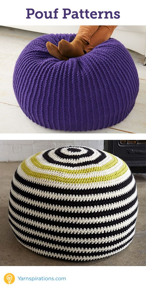 Knit and crochet Pouf will add a fun touch to any room  from Yarnspirations…