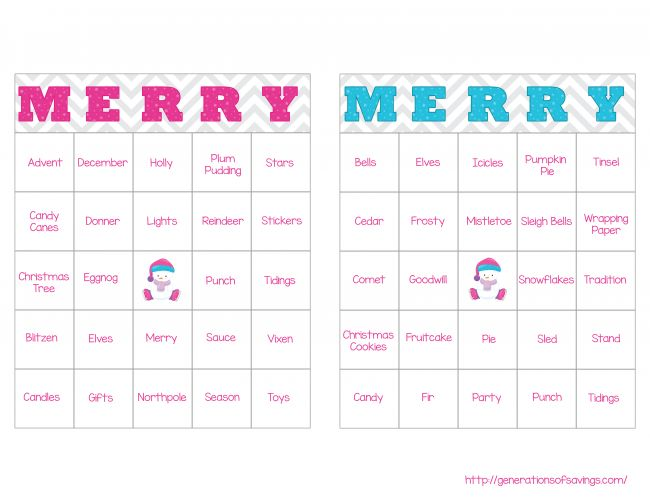 FREE Christmas BINGO Printable with free christmas BINGO cards, printable BINGO daubers, and blank cards. It also includes a list of BINGO words for the FREE Printable BINGO Game.