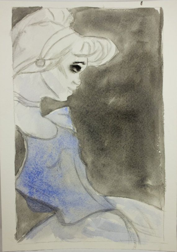 Disney Cinderella original watercolor dark by ManChildCreations
