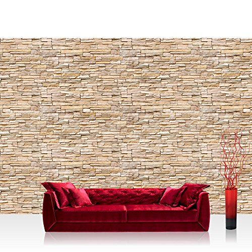"Photo wallpaper - stone wall brick wall - 157.4""W by 110.2""H (400x280cm) - Non-woven PREMIUM PLUS - ASIAN BRICK STONE WALL - Wall Decor Photo Wall Mural Door Wall Paper Posters & Prints."