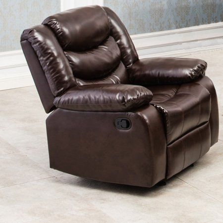 Winslow Rustic Dark Brown PU Leather Glider Recliner Chair