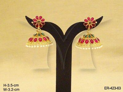 Paanshape Gold Jhumki Kemp Stone Earrings