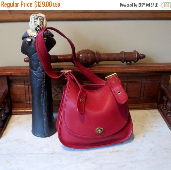 St Paddys Sale Coach Crescent Saddlebag Red by ProVintageGear