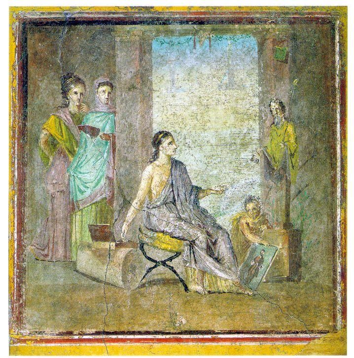 Pompeii Painter - Roman art - Pompeian painter with painted statue and framed painting Pompeii