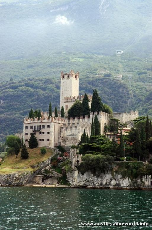 Scaliga Castle in Malcesine on Lake Garda, Verona, Veneto, Italy:  The castle has 13th-century fortifications and an older medieval tower. Remnants of an Etruscan tomb have been found within the castle walls.