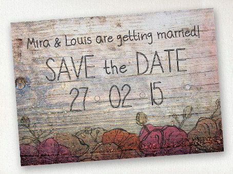 Save the Date  Rustic style wood with ink by SixDaysCreations
