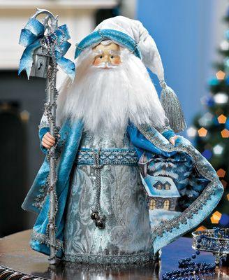 fiber optic blue robe santa tree topper | Blue Winter Collectible Santa Claus Figurine