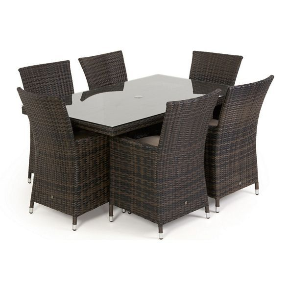 Debenhams Brown Rattan Effect La Rectangular Garden Table And 6