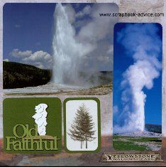 Scrapbook Layout of Old Faithful using post cards and personal photographs