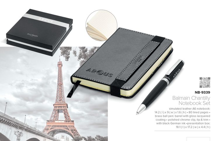 Five Top Corporate Gifts for 2015 -Balmain Paris Pen and Notebook Gift Set #topgifts #balmain #giftideas
