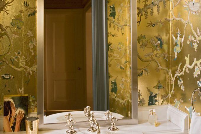 metallic chinoiserie wallpaper walls Pinterest Gold