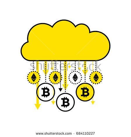 Концепция блочной цепи криптовалюты.  Золотой цифровой облако, изолированных на белом фоне.  Золотой дождь виртуальные монеты биткойн, ethereum падает.  Плоский значок.  Векторные иллюстрации.