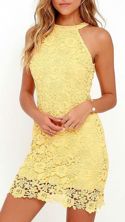 2016 Custom Charming Yellow Lace Homecoming Dress,Sexy Halter Evening Dress…