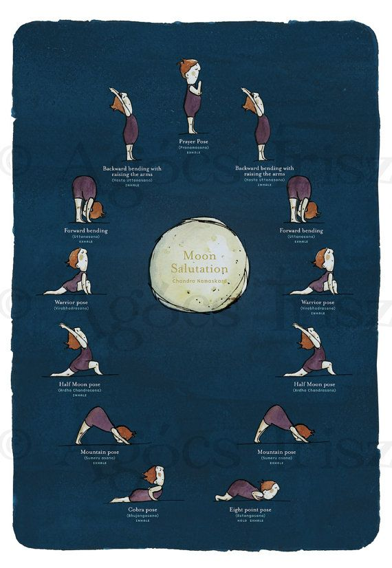 Moon Salutation  Yoga Poster by Irisz Agócs by iriszagocs on Etsy, $14.00