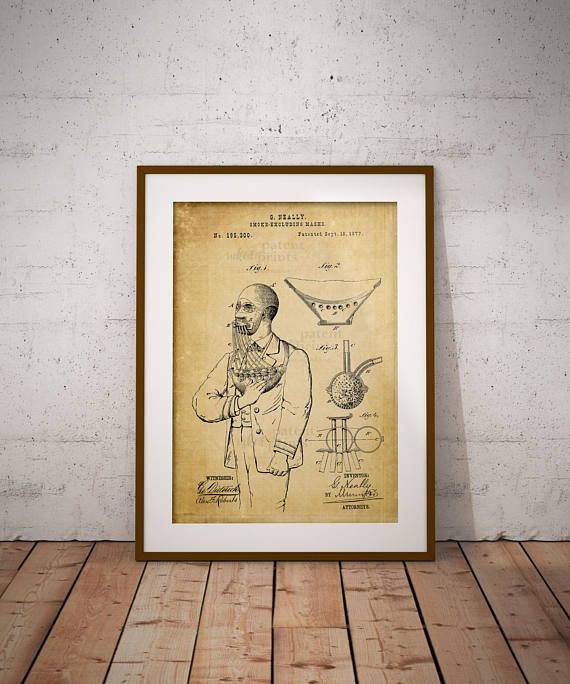 Smoke-excluding Mask Patent Art Poster Fire Safety Mask