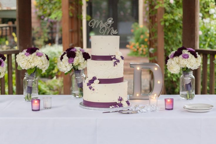 Cream & Lavander Three Teir Wedding Cake W/ Mr & Mrs Wedding Cake Topper - Blog   Ignite Photography Blog